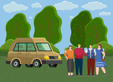Friends come by truck to forest. People rest and spend time together outdoors. Travel by car