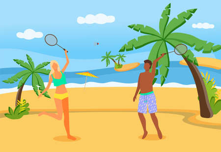 Couple playing badminton on beach. Husband and wife with tennis racquets resting at summer resort 矢量图像