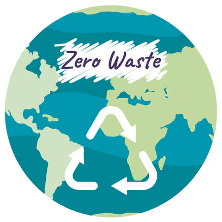 Recycle symbol with arrows on planet Earth background, eco label with reduce reuse recycle concept