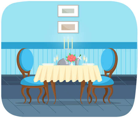 Romantic dinner for dating and eating out. Restaurant interior design. Served table with tablecloth 矢量图像