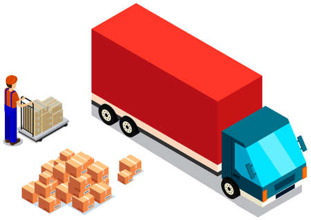 Mover puts boxes with parcels into wagon. Loading car before shipping. China delivery truck 矢量图像