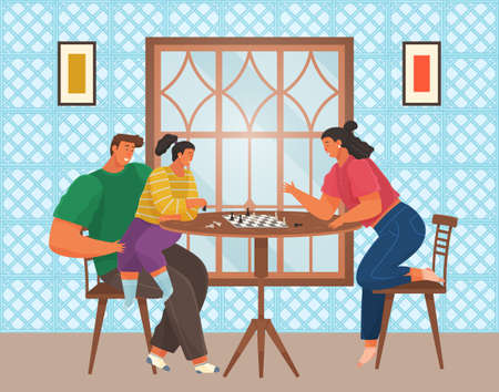 Cheerful family playing chess. Parents and children with board games spend time in kitchen 矢量图像