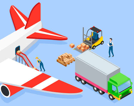 Man puts boxes on conveyor belt in airplane. Loading packages and containers into cargo aircraft 矢量图像