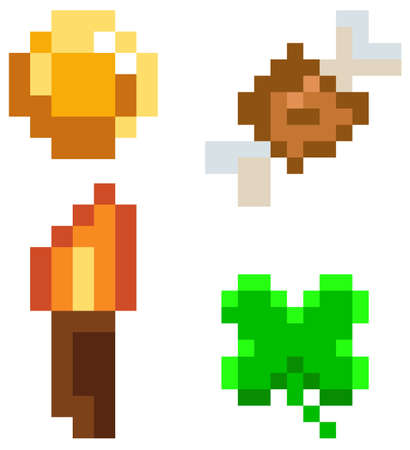 Pixel interface layout design with pixelated coin, leaf, meat bone, torch on white background