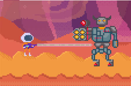 Pixelated alien in space suit with blaster shooting robot. Pixel characters with weapon are fighting