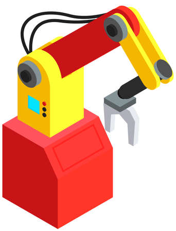 Equipment for work in production. Mechanical hand, robotic arm, technical device for loading objects 矢量图像