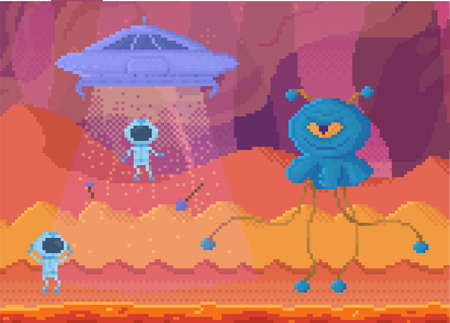 Pixelated aliens leaving dangerous planet on flying saucer. Angry blue pixel monster with one eye 矢量图像