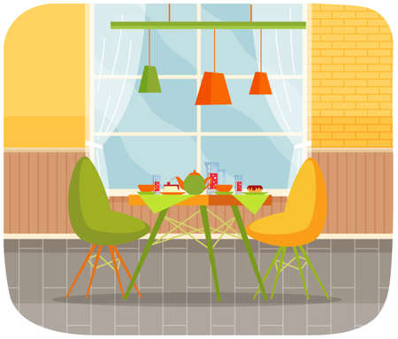 Modern restaurant, confectionery interior design. Served table with desserts and sweet drinks