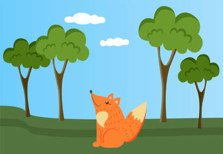 Fox is resting in clearing. Wild animal in nature. Forest landscape with trees and greenery