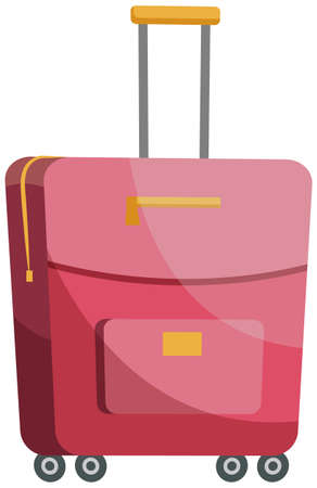 Suitcase for women for storing clothes. Pink fabric valise with long handle for holding and carrying