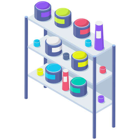 Shelving with paints in modern typography or print office. Racks with jars and color containers cans 矢量图像