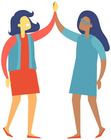 Two happy businesswomen shaking hands in agreement. High five business people isolated on white