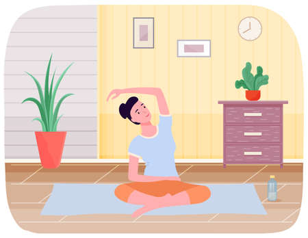 Meditation practice and body work. Girl doing stretching exercise and exercising yoga at home