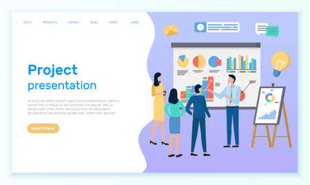 Successful business project presentation, company strategy planning, statistics indicators analysis