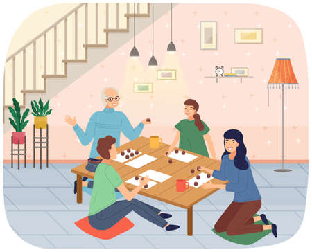 Family mother, daughter, grandparents sitting at table playing board game or tabletop game lotto 矢量图像