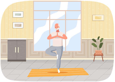 Man doing yoga at home. Elderly happy man standing in tree pose. Person takes care of his health