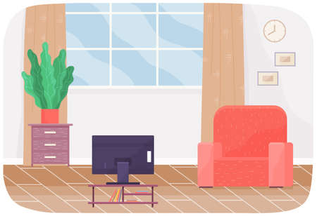 Living room interior design with red armchair next to window, television set and potted plant