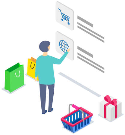 Landing page of site with goods. Man using application for buying and ordering purchases worldwide