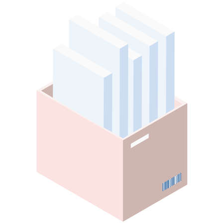 Paper holder, office equipment, color printing. Stacks of paper for print in vertical plastic box