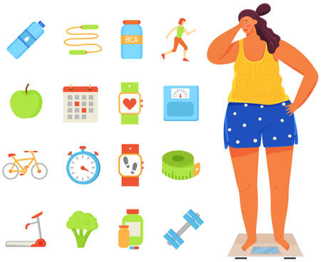 Young woman stands on scales and weights. Calorie counter symbols, pedometer, sports equipment 矢量图像