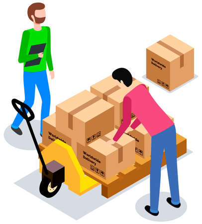 Worldwide sales concept. Worker loading boxes on carrier. Man holding box, put it on stack 矢量图像