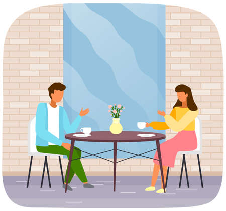 Man and woman drinking tea together. Family talking and spending time near catering establishment