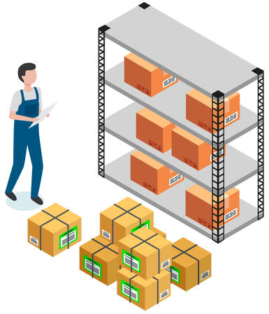 Person working in warehouse for storing parcels. Man counts quantity of cardboard containers