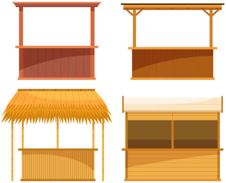Set of illustrations about wooden outdoor bars. Establishment for sale of alcoholic beverages