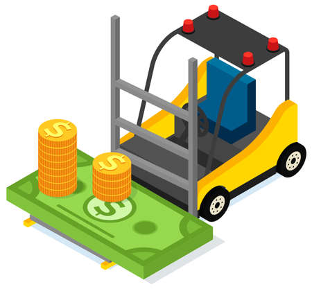 Forklift without driver for carriage of dollars and coins. Transporting equipment with banknotes