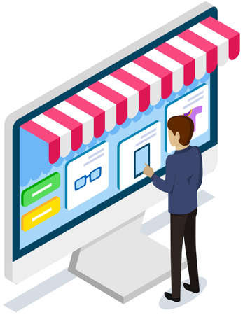 Man using application for buying and ordering goods via Internet. Monitor with sales website