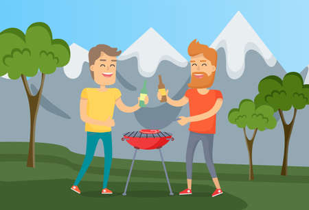 Guys having fun and relaxing in nature with cold beer. Men grilling meat steaks on barbecue