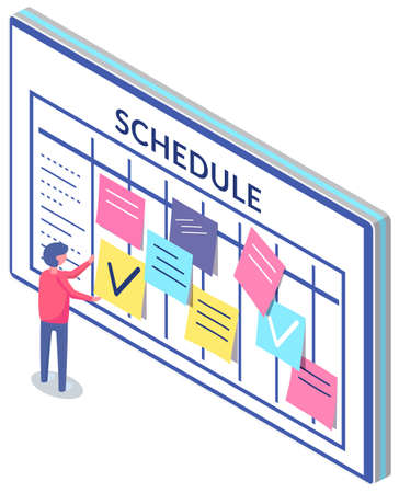 Business planning and scheduling concept. Employee sticks papers with to-do plans for week