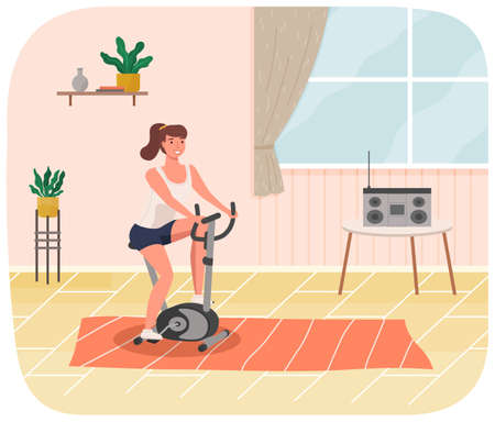 Woman doing cycling exercise. Fit woman with bike trainer doing sports at home. Cardio workout 矢量图像