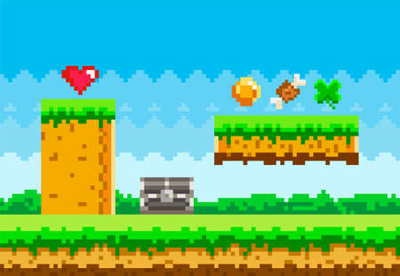 Pixel game background with green grass platform and items collected during gameplay, coins, heart 矢量图像