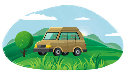 Summer time family trip. People traveling by car on road in forest. Traveling together, autotourism