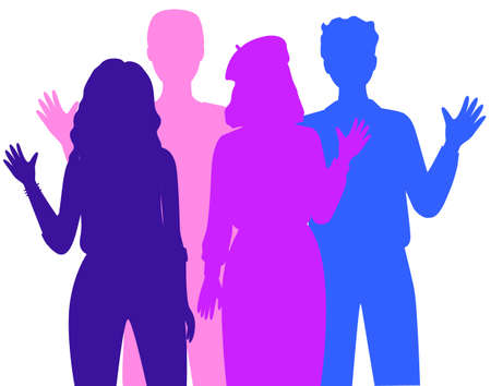 People silhouettes isolated on white. Representatives of world cultures in national clothes Vector Illustration