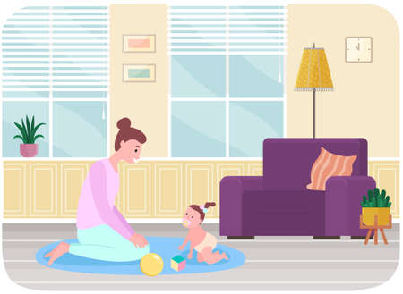 Mother plays with her small baby at home. Female character spend time with her little daughter