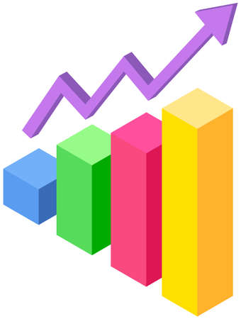 Modem isometric graphic statistics. Profit growth indicators from sales shown on statistical chart