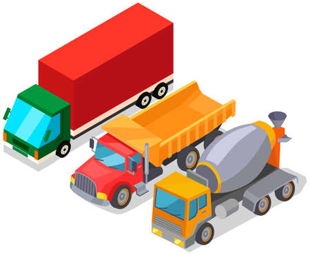 Concrete mixer, closed trailer truck and dump truck. Vehicle for transporting goods worldwide