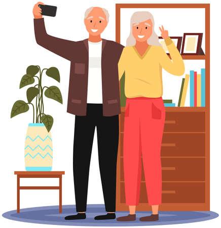 Old people play video game. Senior people with different gadgets. Oldster education on computer Vektoros illusztráció