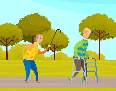 Old people man and woman on walk in city garden. Elderly couple with walking cane and walker in park. Grandparents walking outdoors together enjoying good warm weather along an alley with green trees