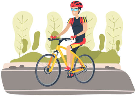 Guy in helmet and sportswear riding in park. Man rides bicycle on road. Male character does sports outdoors. Sportsman cycling in nature. Person spends time actively with transport, healthy lifestyle Vektorgrafik