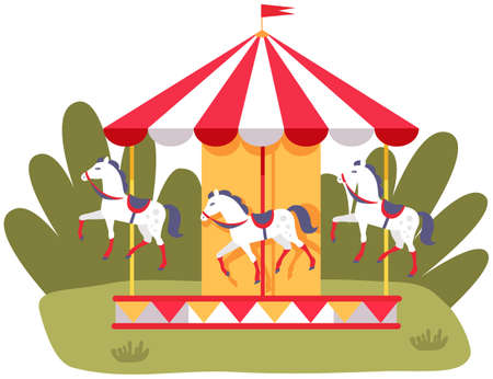 Carousel with three colored horses on playground. Outdoor entertainment for children. Colorful attraction with animals fo kids. Carousel in park vector illustration. Toy horses on ride attraction