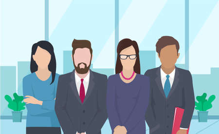 Business team ready to work. Teamwork. Coworkers characters communication. Team building and business partnership. Businessmen people cooperation collaboration. Office workers clerks standing together