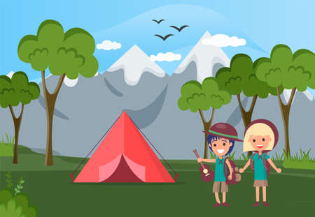 Group of happy tourists or backpackers standing beside tent. Camping in forest, adventure tourism, backpacking, bushcraft. Guitar scouts come for picnic, on nature hike. Children near tent in forest