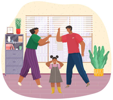 Angry husband and wife swear in presence of scared kid, girl covers her ears with hands. Woman and man shouting, screaming, yelling, fighting, scared child crying. Unhappy marriage. Family conflict Vektorové ilustrace