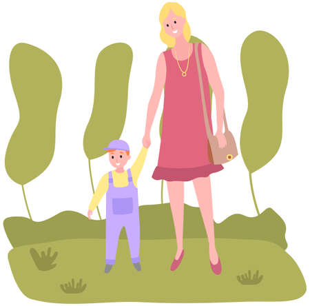 Mom and child walk in park by hand. Family is walking in summer park. Parent and child have rest in nature. Mother holds little son by hand while walking. Woman with boy spend time together outdoor Ilustración de vector