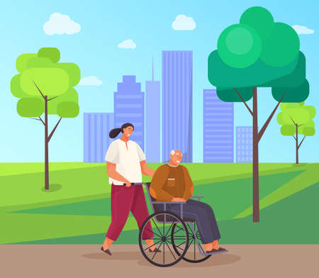 Woman rolls old man in wheelchair. Grandfather walks and sits in disabled carriage in city park. Girl take care of retiree from nursing home. People stroll along walkway with green trees in garden