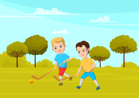 Sport school club, young boys playing field hockey on grass with sticks and ball. Team game for active leisure time after classes. Flat cartoon style cheerful children running, outdoors competition