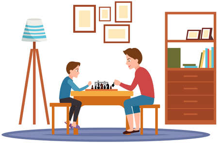 Father and little son sitting at table and playing chess in living room. Person holding in hand chess figure. Dad and boy spend time together and have fun. Family playing strategy logic game at home